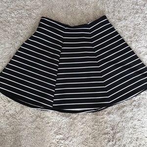 Decree black and white striped skater skirt